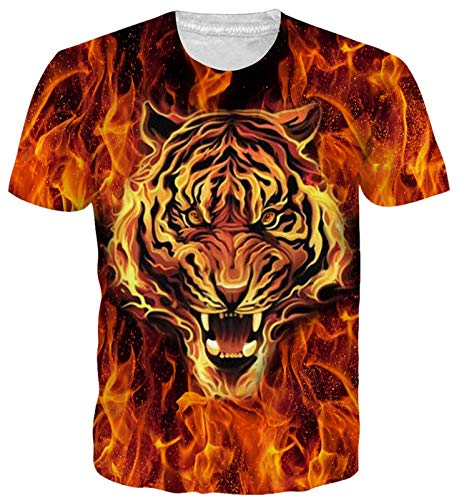Goodstoworld 3D Printed T Shirt for Men Women Summer Tiger Pattern Casual Short Sleeve Tshirt Tee Tops Clothing, Fire Tiger, M