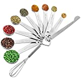Measuring Spoons Stainless Steel, Set of 11, Includes 9 Stainless Steel Measuring Spoons, Leveler and Whisk, Teaspoon Tablespoon Set for Measuring