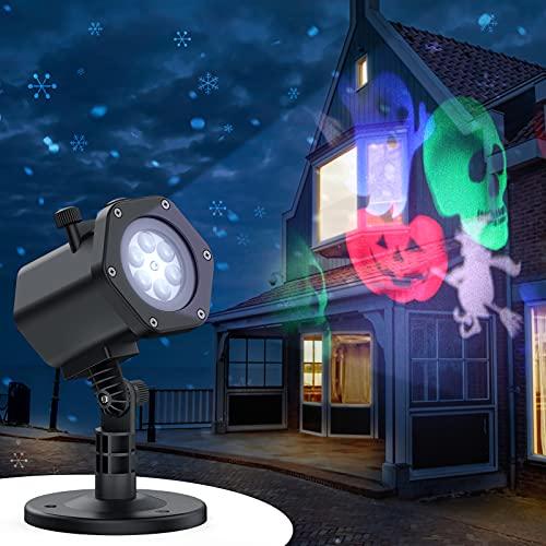 ESMART Proiettore Luci Natale Certificato con 12 Dispositivi di Diversi Tema 270°Regolabile L'impermealbilità IP65,Lampada Proiettore LED Interno/Esterno per Natale Halloween Compleanno