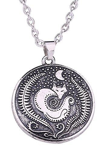 Collar vintage gótico vikingo adolescente lobo luna creciente colgante adorable de animal para...