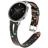 Miimall - Correa de reloj compatible con Huawei Watch GT 2, 42 mm, piel de primera calidad, liberación rápida para mujer, impresión de banda de repuesto para Huawei Watch GT2 42 mm, color verde flor