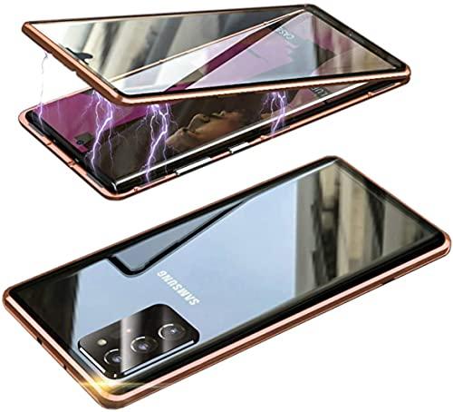MOSSTAR Funda para Samsung Galaxy S20 FE, absorción magnética, marco de metal, 360 grados, parte delantera y trasera, cristal templado, una sola pieza, fina, transparente, color naranja