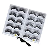 KellyRoom 3D Faux Mink Lashes Pack: 10 Pairs Dramatic Natural False Eyelashes with Lash Applicator-2 Styles