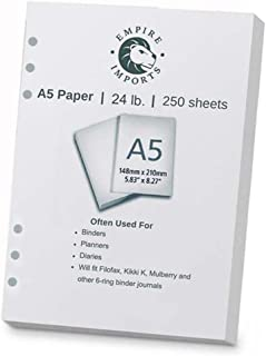 Empire Imports 24 lb. A5 Size 6-Hole Punched Paper, Ream, 250 Sheets, White (A56HR)