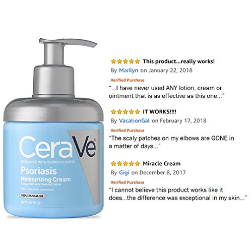 CeraVe Moisturizing Cream for Psoriasis Treatment | 8 Oz | With Salicylic Acid & Urea for Dry Skin Itch Relief | Fragrance Free