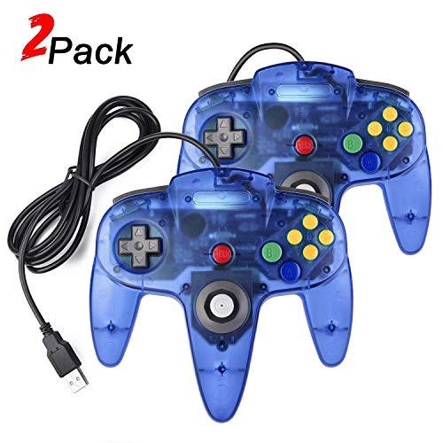 Pacote com 2 controladores USB N64, controlador USB retrô N64 Joystick Raspberry Pi para Windows PC MAC Linux (azul claro)