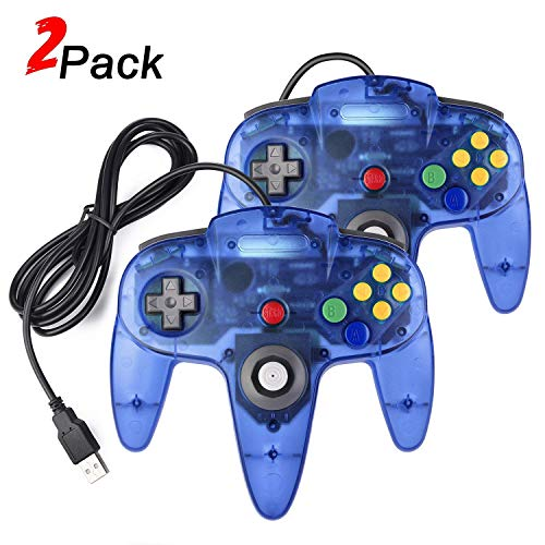 Miadore N64 - Controlador USB para Windows PC Mac Linux (2 Unidades, N64), Color Azul