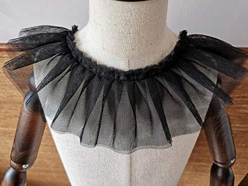 9 cm brede dubbele laag versleuteling zacht wit mesh pailletten Tulle kant stof DIY gordijn vouw rok hals pop kleding Decor Zwart 1 yard