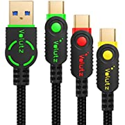 USB-C Cable 3.0 (USB A to C Cords) by Volutz (3-Pack: 6.5ft+3.3ft+1ft), 5Gbps / 3Amp Fast Chargers for Smartphone, Tablet and Other Type-C Devices - Equilibrium+