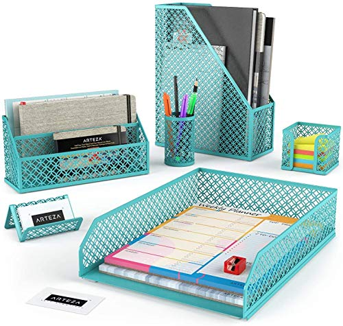 Arteza Desk Organizer Accessories Set of 6, Tiffany Blue, Includes Pencil Cup Holder, Letter Sorter, Tray, Magazine Holder, Name Card Holder, & Sticky Note Holder, Office Supplies for Home or Office
