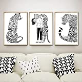 Pintura en lienzo Leopard Girl Arte de pared moderno nórdico Carteles e impresiones en blanco y negro Cuadros de pared para decoración de sala de estar 30x40cm (11.8x15.7in) x3 Sin marco