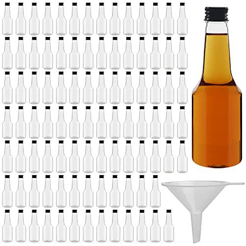 BELLE VOUS Bottigliette per Liquori (96Pz) Mini Bottiglie Alcolici - Bottigliette Plastica 100 ml Riutilizzabili con Tappi a Vite Neri ed Imbuto - Bottiglie Liquore Mignon per Matrimoni e Feste