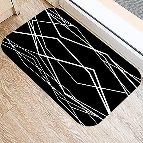 HLXX Nordic Black Geometric Kitchen Entrance Door Mat Coral Velvet Carpet Rubber Indoor Floor Mats Non-Anti-Slip Rug A3 40x60cm