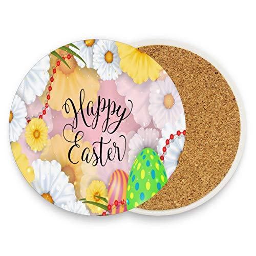 Happy Easter - Posavasos para bebidas (2 unidades), diseño de huevos de Pascua, color amarillo y blanco