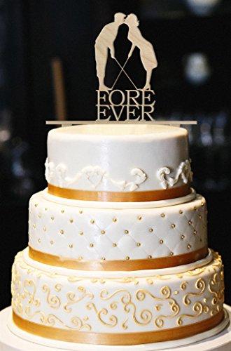 """Fore Ever Golf Wedding Cake Topper, Glitter Wedding Cake Topper, Golf Cake Topper, Gold Glitter Wedding Cake Topper, Wedding Decor (5"""", Wood)"""
