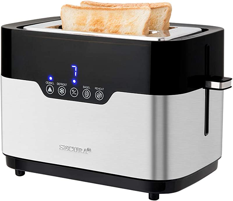 Secura Factory Second Brand New Digital 2 Slice Brushed Stainless Steel Toaster One Size
