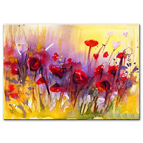 Rincr Abstracte klaprozen canvas schilderij aan de muur moderne rode bloemen Pop Art canvas wandschilderijen voor woonkamer decoratie