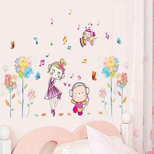 Música Paseo Chica Etiqueta de la pared Jardín de infantes Decoración de la habitación de los niños Pegatinas de pared Habitaciones para niños Decoración de los dormitorios Pegatinas f50 wangzhanping