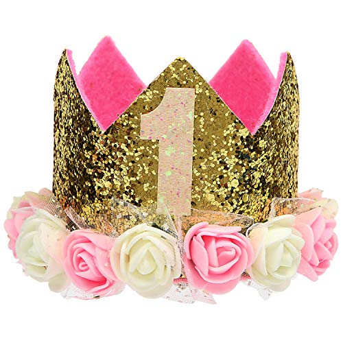 Baby Girl Tiara First Birthday Crown Glitter Gold Party Hat Headband
