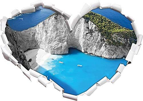 KAIASH 3D Pegatinas de Pared Bahía Escarpada en el Mediterráneo en Forma de corazón Blanco y Negro en Apariencia 3D Adhesivo de Pared o Puerta Adhesivo de Pared Decoración de Pared 92x64cm