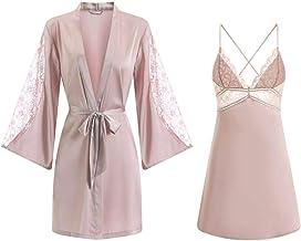 Dames Badjas Dames Satijnen Kimono Badjas Japon Intieme Lingerie Zijdeachtige 2-Delige Roze Nachthemd Kanten Nachtkleding