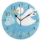 Niño Baby Shower y cigüeña Relojes de Pared Reloj de Pared Redondo Decorativo con Pilas para el hogar Cocina Dormitorio Sala de Estar Aula Reloj de Oficina