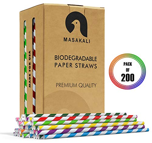 Masakali 200 Pcs Paper Straws Biodegradable with 10 Colors; Paper Straws Bulk