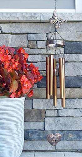 Comfort with Each Breeze Express Sympathy and Condolences I Have You in My Heart Copper-Colored Metal Wind Chime for Funeral Memorial Gift with Exclusive Poem and Card