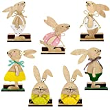 7 Pezzi Decorazioni di Uova Coniglietto in Legno Pasquali con Cravatta a Farfalla, Ornamenti di Artigianato Uova Coniglio in Legno Pasqua in Piedi Carino per Dentro Casa Festa Tavolo