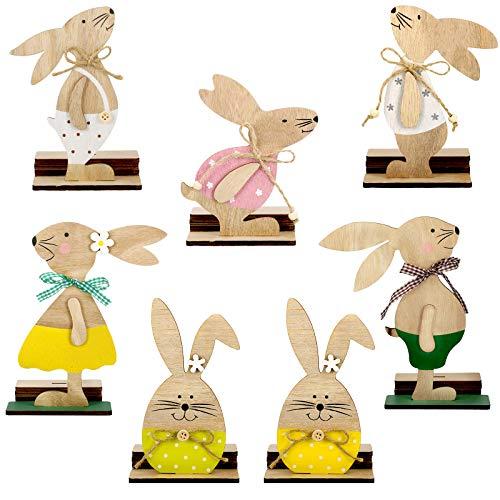 7 Piezas Decoraciones de Pascua Huevos Conejo de Madera con Pajarita, Huevos Conejo de Pie Lindos Adornos Manualidades de Madera para Mesa Fiesta