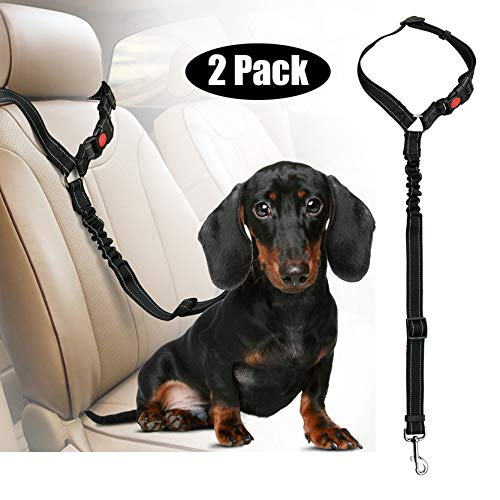 Multifunktional Hundegurt fürs Auto, Kopfstütze Hunde Sicherheitsgurt & Wird als Hundeleine Verwendet für Kleine mittlere & große Hunde (2 Pack)
