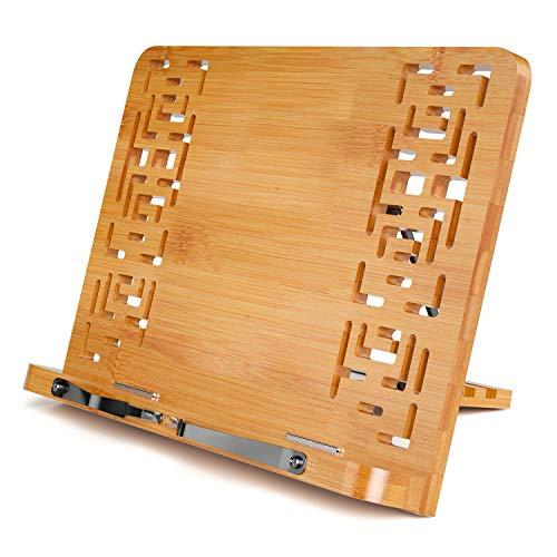Porte-Livre Pliable, Support pour Livre en Bambou, Petite Taille, Réglable 5 Degré Pupitre de Lecture, pour Ipad, Tablette, Iiseuse, Livres de Cuisine, Encyclopédies et Atlas, 11 x 7.9 x 1.6 Pouces
