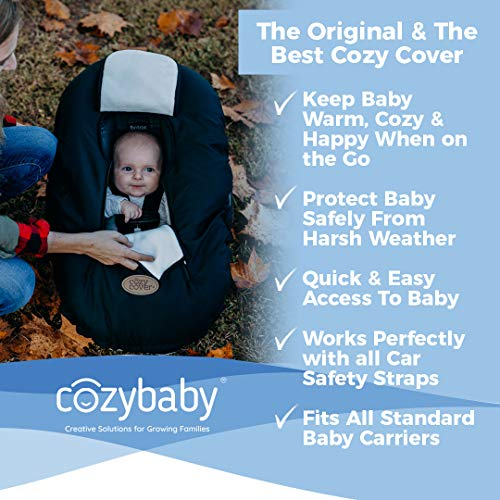 Cozy Cover Infant Car Seat Cover (Charcoal) - The Industry Leading Infant Carrier Cover Trusted by Over 6 Million Moms Worldwide for Keeping Your Baby Cozy & Warm