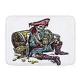 SUHETI Alfombra de baño,Pirata Esqueleto sosteniendo una Jarra de Cerveza Cofre del Tesoro Pirata de Oro Marinero Corsair,Alfombra de baño Antideslizante de Agua de Alta absorción