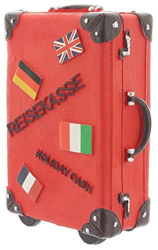 Spardose Reisekoffer Keramik Koffer Sparschwein Sparbüchse 15cmx11cm rot