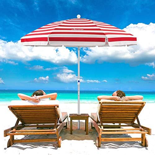 MOVTOTOP Beach Umbrella, 6.5ft Beach Umbrella with Sand Anchor & Tilt Mechanism, Portable UV 50+ Protection Beach Umbrella with Carry Bag for Patio Garden Beach Outdoor (Red/White)