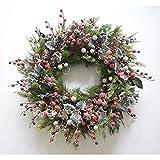 Natürliche Tannenzapfen und Beeren dekoriert Pre-Lit-Kranz Weihnachtsdekoration beleuchtet, 60 cm -...