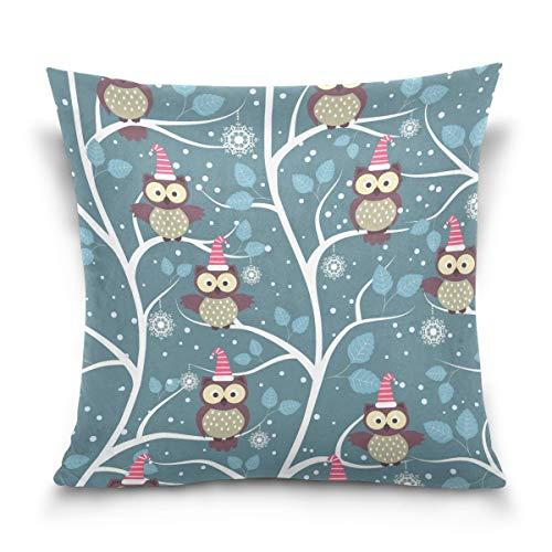 Asekngvo Throw Pillow Case Funda de cojín Decorativa Funda de Almohada Cuadrada, Winter Forest Owl Christmas Sofá Cama Funda de Almohada (45 x