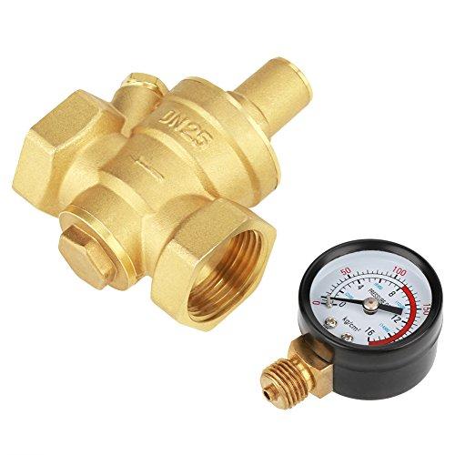 DN25 32mm Druckregler, Messing Einstellbare Wasserdruckminderer Druckminderer + Manometer Meter 1.6Mpa