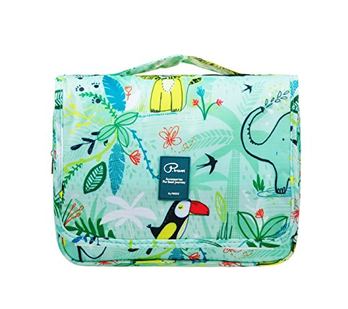Vercord Hanging Toiletry Bag Portable Travel Organizers Cosmetics Makup Bag Case Shaving Kit, Animal