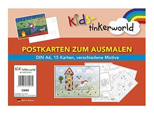 Postkarten zum Ausmalen, DIN A6, 15 Karten, verschiedene Motive, Made in Germany, Kids-tinkerworld by Plastoreg