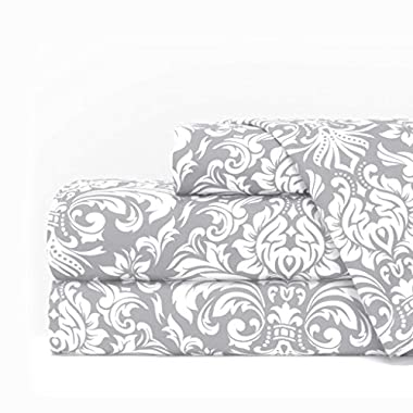 Egyptian Luxury 1600 Series Hotel Collection Damask Pattern Bed Sheet Set - Deep Pockets, Wrinkle and Fade Resistant, Hypoallergenic Sheet and Pillowcase Set - Queen - Light Gray/White