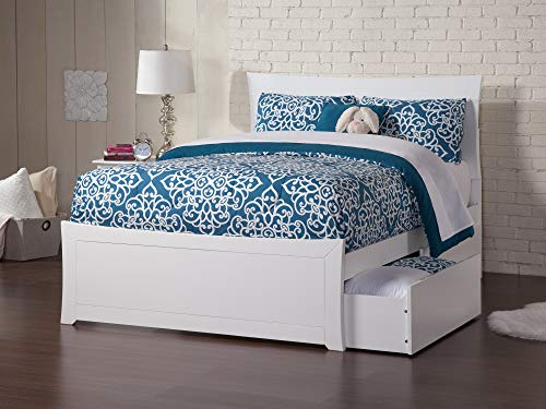 Atlantic Furniture Metro Platform Bed with Matching Foot Board and 2 Urban Bed Drawers, Full, White