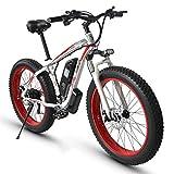 TANCEQI Bicicleta Eléctrica para Adultos, Bicicleta Ciclomotor Todoterreno De 21 Velocidades, Motor De 350W, 26 Pulgadas Neumático Gordo Bicicleta De Carretera Pedales De Bicicleta De Nieve,Red