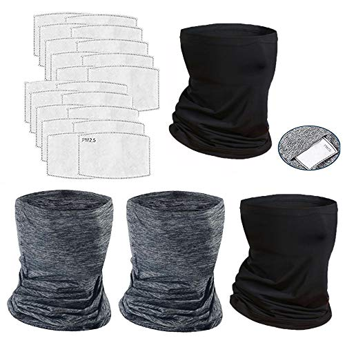 YQXCC 4 Pcs Bandanas Neck Gaiter Face Cover Scarf with 20 Pcs Carbon Filters Sun UV Protection Breathable Gator Mask 2B2G20Filters