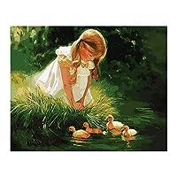 装飾的な壁画大人のための番号キット女性女の子パターンによるキャンバスペイントの30 * 40cmDIY油絵子供初心者クラフト家の壁の装飾ギフトホームオフィスの装飾に適しています (Size:40x50cm; Color:#3)