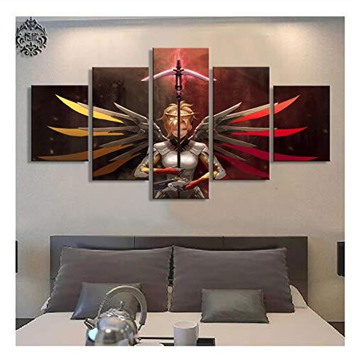 Suuyar Overwatch Dekoration Spiel Poster Moderne Leinwand Gedruckt Bilder Wandkunst Malerei Auf Leinwand Kunstwerk Home Decor-40x60 40x80 40x100 cm Kein Rahmen