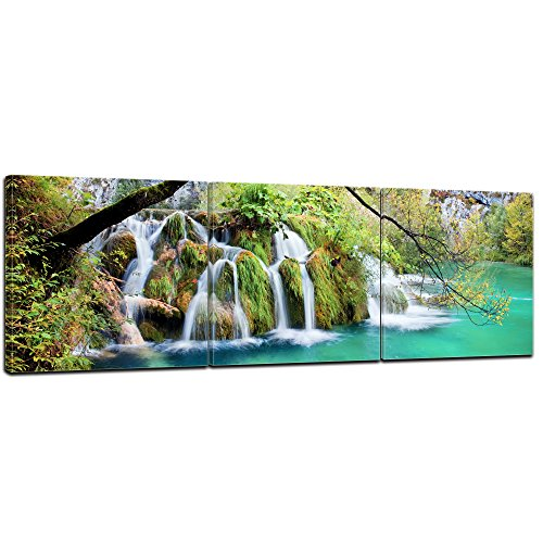 Wandbild - Wasserfall im Herbst - Bild auf Leinwand - 90x30 cm 3tlg - Leinwandbilder - Landschaften - Kroatien - Nationalpark Plitvicer Seen