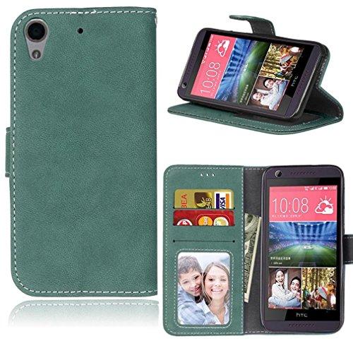 LMAZWUFULM Hülle für HTC Desire 650 / 626G / 628 (5,0 Zoll) PU Leder Magnet Brieftasche Lederhülle Retro Gefrostet Design Stent-Funktion Ledertasche Flip Cover für HTC 650 / 626G / 628 Grün