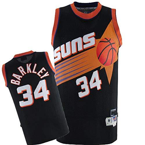 XSJY Männer Basketball Jersey - NBA Phoenix Suns # 34 Charles Barkley Jersey, Fans Ärmel Licht/Breathable Power Forward Sport-T-Shirts,B,S:165~170cm/50~65kg